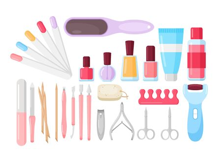 Manicure, pedicure tools and products flat vector illustration set isolated on white background. Collection nail cosmetic, hygienic care items scissors, tweezers, brush, nipper, lacquer, plier, file