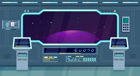 Spacecraft, shuttle or station interior flat design vector illustration. Spaceship cockpit, room background for game computer, planet, universe, stars, window, monitor. Future, space travel concept