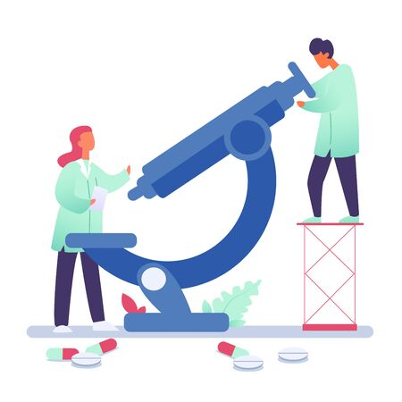 Vector illustration of medical expertise, doctors making vaccine on medical equipment. Medical diagnosis, Corona virus concept on white background