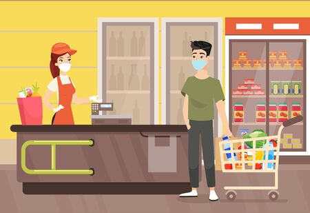 Vector illustration of man in mask in supermarket. People wearing masks during shopping in grocery shop. Quarantine time, healthcare and self protection concept in flat cartoon style