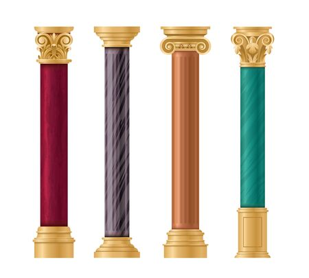 Pillars vector illustration architectural set. Classic marble column with gold pillar decorations in ancient different styles and colors for temple, roman greek stone architecture isolated on white Vecteurs