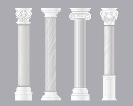 Ancient pillars vector illustrations. Architectural set of Rome or Greek classic marble columns, antique columnar architecture of Roman empire, stone pillar decoration for historic temple or palace Archivio Fotografico - 145772134