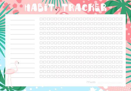 Illustration vectorielle de suivi des habitudes. Journal de planificateur mensuel plat de dessin animé vierge pour le suivi de l'activité habituelle, liste des objectifs quotidiens atteints dans un design floral tropical avec des feuilles vertes et des flamants roses Vecteurs
