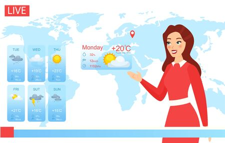 Tv weather forecast report vector illustration. Cartoon flat attractive weatherwoman character reporting on climate change in news, newscaster meteorologist showing weather screen chart background Illustration