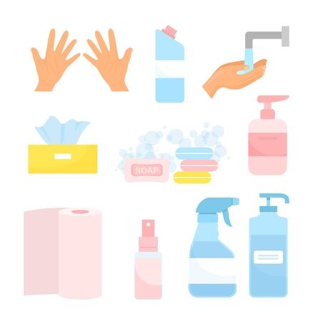 Wash hands vector illustration. Cartoon flat hygiene icon set with soap cleanser, spray sanitizer in bottle, disinfect cleansing gel, medical disinfectant for coronavirus protection isolated on white Standard-Bild