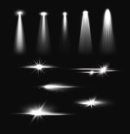 Bright spotlights beam realistic illustration set isolated on dark background. Shine and flash illumination scene, studio, stage. Light effect collection for show, theater and concert interior