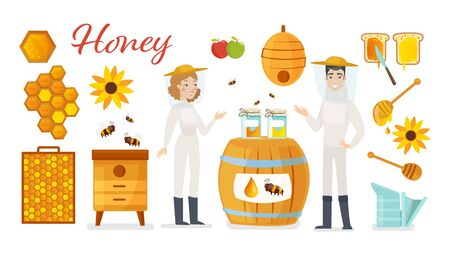 Beekeeping apiculture vector illustration icons set. Cartoon flat man woman beekeeper apiarist characters, honeycomb or honey jar at beehive with bees, organic flowers, apiary farm isolated on white