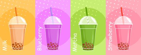 Bubble tea vector illustration set. Cartoon flat asian cold green matcha tea, sweet milk cocktail, berry milkshake. Delicious tea dessert, cafe menu background, summer cool beverage vertical banner