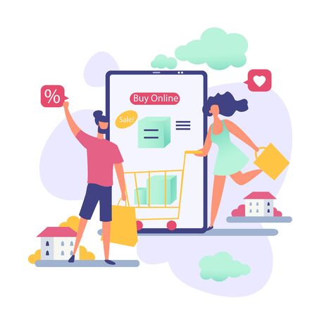 People in online sale vector illustration. Cartoon flat man woman buyer characters with bags shopping on internet sale in mobile shop app. Discount offer on big sale business concept isolated on white