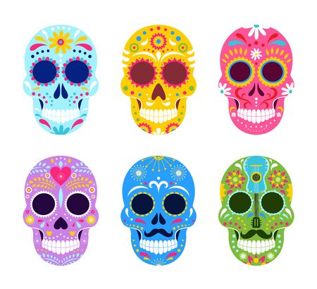 El dia de Muertos, Mexican Day of Dead vector illustrations. Cartoon traditional folk ornament art on dead skulls from Mexico, sombrero and guitar, skeleton masks for party icon set isolated on white Illustration