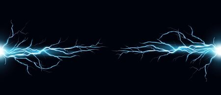 Lightning bolts realistic vector illustration. Powerful thunderstorm electricity discharge isolated on black background. Blue thunderbolt flare. Stormy weather symbol design element