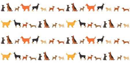 Cute dog pets seamless pattern vector illustrations. Cartoon flat design with black brown doggy or funny puppy and different dog breed pattern food design for decoration, wrapping paper and fabric