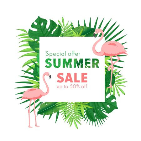 Summer sale vector illustration. Cartoon flat banner with jungle palm tree tropical leaf and flamingo. Discount design background, special offers promotion business advertising summer sale Illustration
