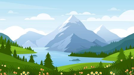 Cartoon flat panorama of spring summer beautiful nature, green grasslands meadow with flowers, forest, scenic blue lake, mountains on horizon background, mountain lake landscape vector illustration Illustration