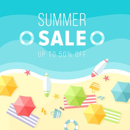Cartoon flat sunny hot beach background in summertime with blue tropical sea wave, boats, umbrellas. Promo web banner, voucher offer for hot special discount promotion summer sale vector