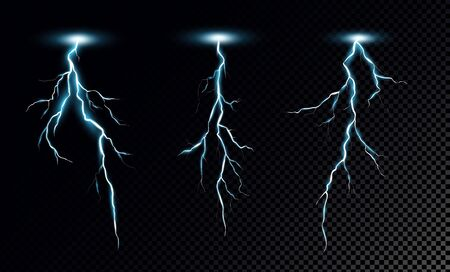 Lightning bolts realistic vector illustrations set. Thunderstorm electricity discharge isolated on transparent background. Natural phenomena, blue thunderbolt flares