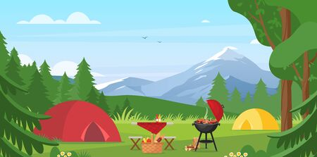 Cartoon flat tourist camp with picnic spot and tent among forest, mountain landscape view, sunny day. Summer camping vector illustration. Outdoor nature adventure, active tourism background Illustration