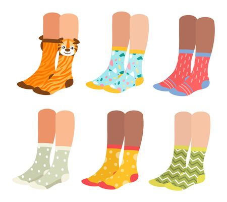 Socks on woman legs vector illustration set. Cartoon flat collection of girl underwear accessories, sock pair with colorful ornament, print and pattern, funny warm socks footwear isolated on white