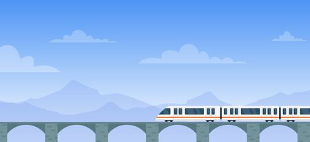 Travel by train vector illustration. Cartoon flat modern electric express train with travelers traveling by rail road on railway bridge to next station. Mountain landscape adventure background Vectores