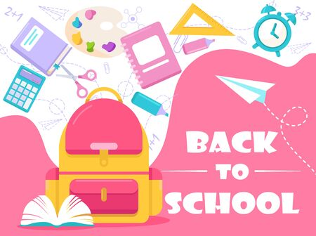 Back to school lettering vector illustration. Cartoon flat stationery, tools supplies and accessories for study in school, college or university. Education concept background for poster or web banner Vectores