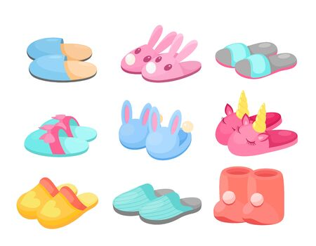 Slippers vector illustration set. Cartoon flat home footwear collection in different colors, comfortable slipper shoes with funny animal head, bow heart decor for man woman or kids isolated on white