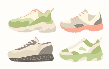 Snickers shoes vector illustration. Cartoon flat collection of man woman fashion footwear in different colors, sneakers shoes for fitness sport activity, casual fashionable footgear isolated on white