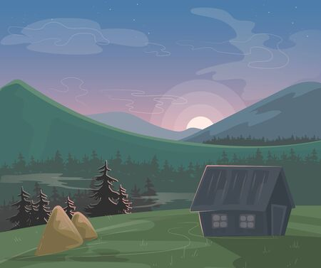 Mountain landscape vector illustration. Cartoon beautiful summer morning or evening nature scenery, village with house haystack, green natural farmland field, sun low on mountainous horizon background