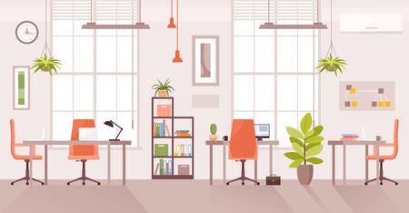 Office workplace vector illustration. Cartoon flat modern corporate room interior, desk table for officer employee work with computer or laptop, coworking place front view. Workspace design background Illustration