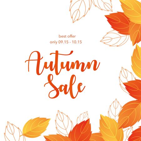 Autumn sale lettering vector illustration. Cartoon flat autumnal yellow orange dry tree leaves frame promo poster with special offer, shopping discount promotion template, fall season background