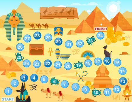 Play Egypt board game vector illustration. Cartoon flat boardgame template with path way through Egyptian symbol to treasures. Fun game background for family players team, children and parent gamers