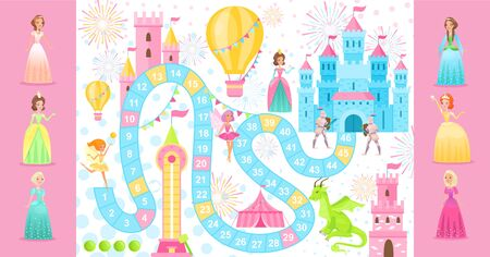 Fairy princess board game vector illustration. Cartoon flat boardgame template with path road to medieval castle, dragons, knights on way. Fun game background for family players team, girl gamers Vectores