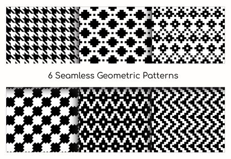 Seamless geometric pattern vector illustration set. Collection of modern stylish ornate abstract black and white texture geometry. Repeating geometric ornament tiles from striped, diagonal elements Vectores