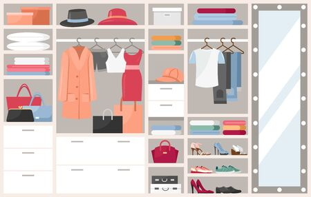 Open wardrobe with clothes vector illustration. Cartoon flat shelves boxes with woman man things, shoes or hats, clothing on hangers in closet cupboard. Opened dressing room organization background Vectores
