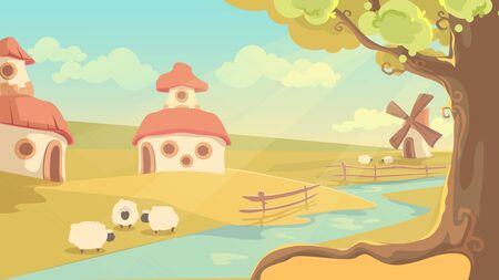 Fantasy rural landscape vector illustration. Cute cartoon summer sunny day scenery, countryside village with fairy tale houses, old windmill, sheep grazing by river. Fantasizing dream land background Illustration