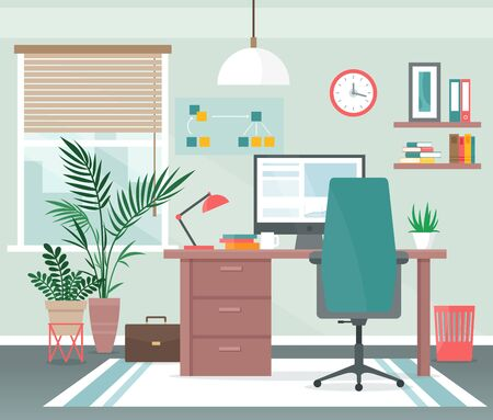 Home office workplace vector illustration. Cartoon flat apartment room interior with computer on table for freelance distance work, comfort chair, house window. Modern creative workspace background Vectores