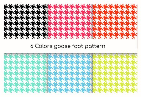 Seamless geometric pattern goose foot, hound tooth vector illustration set. Collection of colorful classic English check pattern texture, repeating geometric ornament for fabric tweed, suit or dress Illustration