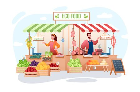 Farm market vector illustration. Cartoon flat happy man woman seller characters working, farmer people selling organic meat, eco vegetables and fruits. Agribusiness, farming business isolated on white