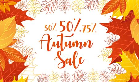 Autumn sale lettering vector illustration. Cartoon flat web banner design with autumnal yellow orange or red dry maple tree leaves on border of poster advertising, special discount offer for shopping