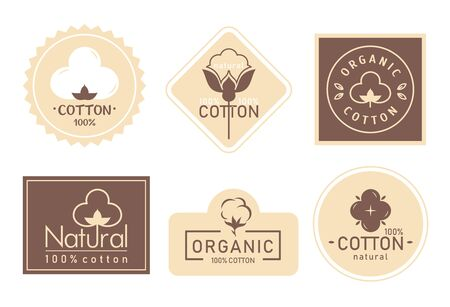 Organic cotton label vector illustration set. Mark   icons collection with cottonseed branch plant symbol emblem, natural bio organic product, fabric quality fiber for knitting and textile industry