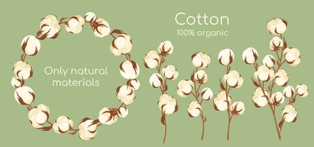 Organic cotton plant vector illustration set. Cartoon flat cottonseed branch with white textured flower bolls, natural raw materials for eco textile industry, manufacturing high quality cotton fabric