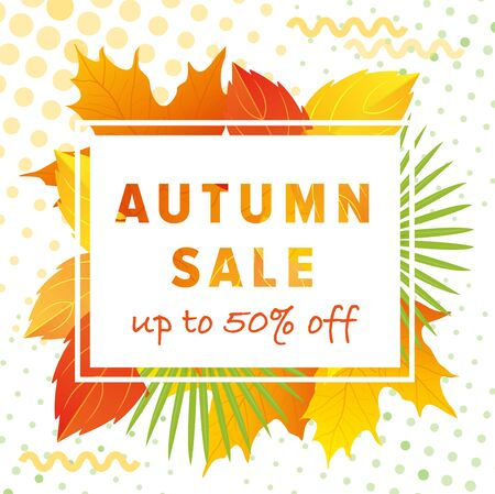 Autumn leaves background vector illustration. Cartoon flat autumn sale lettering poster, special offer web banner or shopping discount promotion, autumnal yellow dry maple tree leaf in fall season