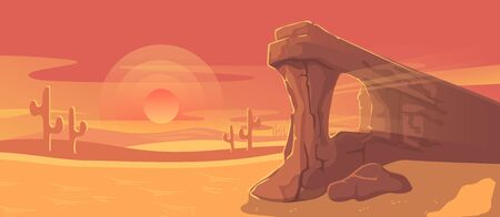 Desert landscape vector illustration. Cartoon panorama dusty nature land with sand dunes, dry plants or cactuses silhouette and rocky sandstone arc formation, summer desert heat apocalypse background