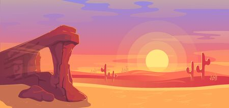 Desert landscape vector illustration. Cartoon panoramic nature scenery with dry sand land, sandstone rock canyon, cactuses silhouettes, clouds of dust in red sunset sky, sun low on desert horizon