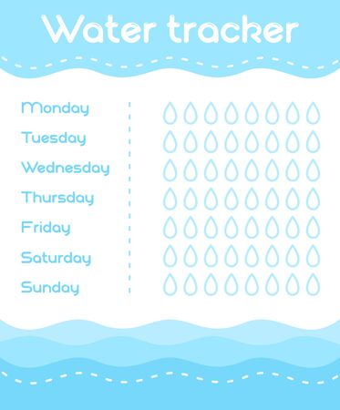 Vector illustration of Daily Water Tracker template in blue colors. Fitness and healthy life water calendar in flat style