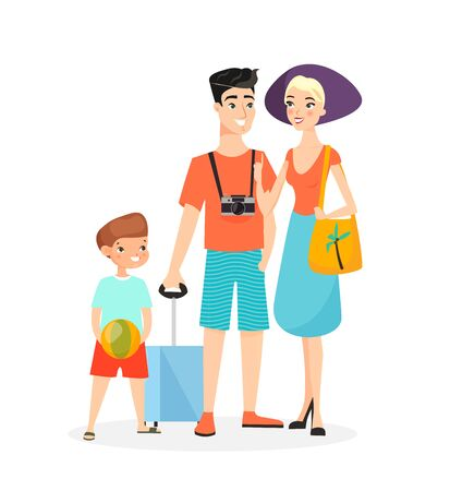Vector illustration of happy family, time together in summer. Mother, father and son are ready to travel in summer clothes isolated on white background cartoon characters Vectores