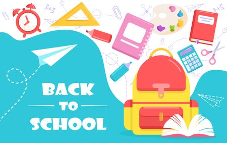Back to school lettering vector illustration. Cartoon flat poster template or web banner design with college tools supplies, schoolbook and pencil, backpack, alarm clock. Education concept background