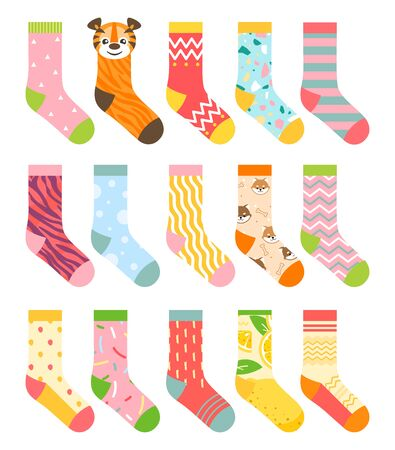 Socks vector illustration set. Cartoon flat collection of colorful clothing items with different pattern, cotton and woolen striped sock, funny warm socks for man, woman or children isolated on white Vectores