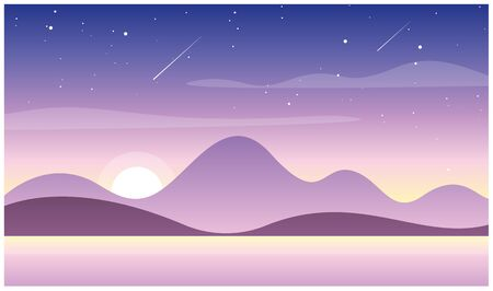 Vector illustration of beautiful sunset in mountains with lake. Wild nature, travel concept in pastel colors, sunset or sunrise in mountains and hills in flat cartoon style