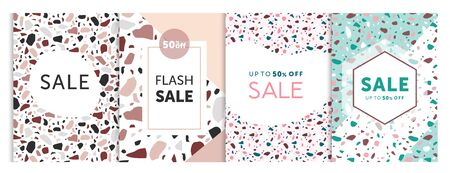 Vector illustration of set templates for sale bunners with terrazzo patterns style. Seasoned sale, advertising banners and cards collection Illustration