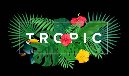 Vector illustration of template for tropical print with bright leaves and flowers, summer bouquet background, floral composition with text Vectores